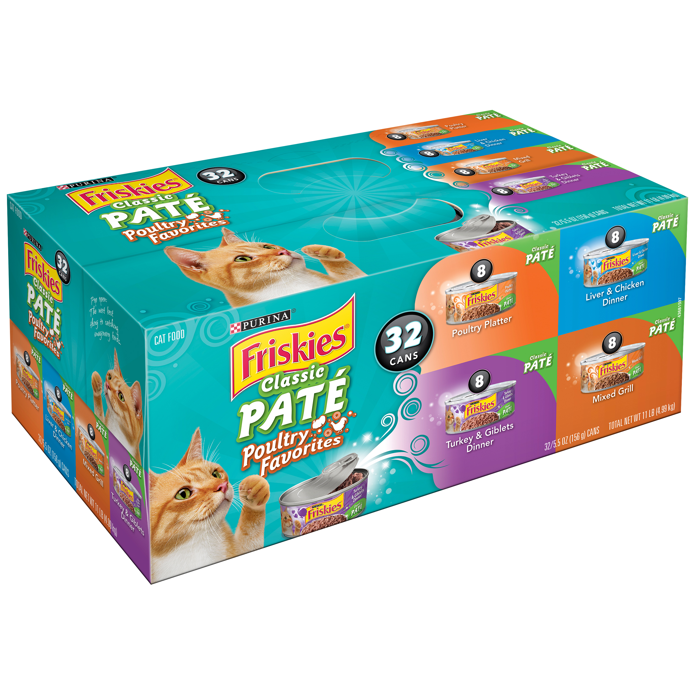 Purina Friskies Classic Paté Poultry Favorites Cat Food Variety Pack 32-5.5 oz. Cans