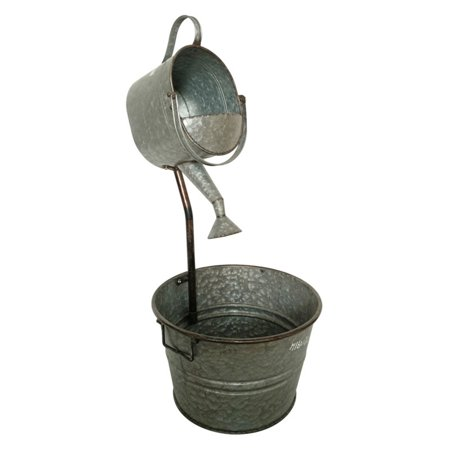 Metal Galvanized Garden Watering Can Fountain