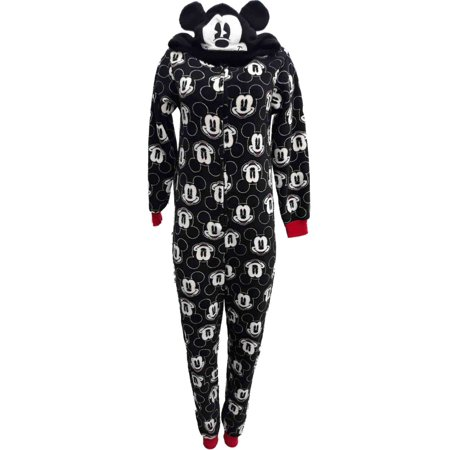 Womens Disney Mickey Mouse Head Print Union Suit Blanket Sleeper Pajama Small