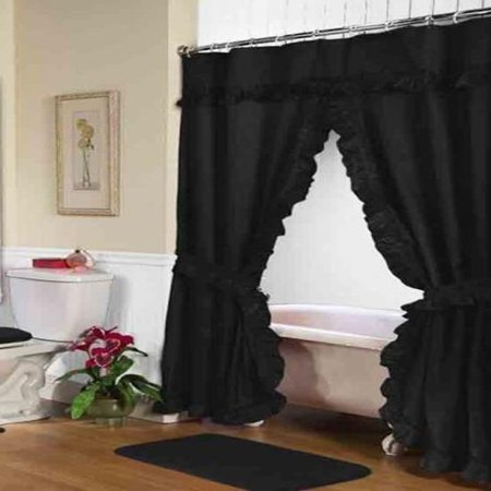 Lauren Double Swag Shower Curtain Black