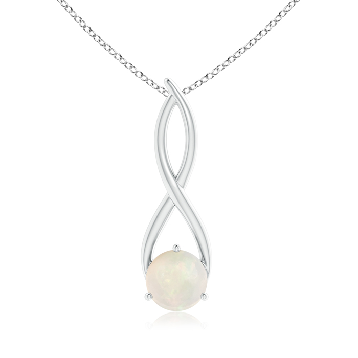 October Birthstone Pendant Necklaces Solitaire Round Opal Infinity Twist Necklace Pendant in 950 Platinum (8mm Opal)... by Angara.com