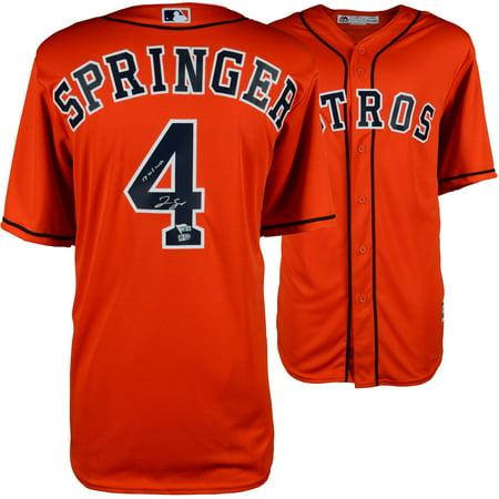 1023946f1 George Springer Houston Astros 2017 MLB World Series Champions Autographed  Majestic World Series Orange Replica Jersey