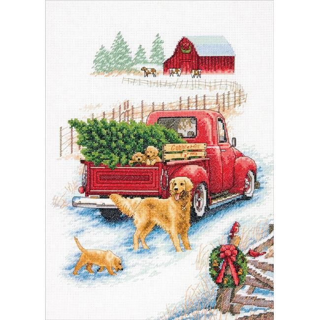 Dimensions Counted Cross Stitch Kit Cardinals on Winter Sled 14 Count White Aida 10 x 14