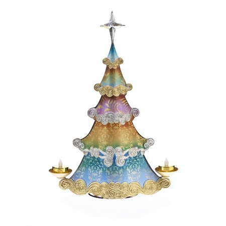 "17"" Regal Peacock Christmas Tree Double Tea Light Candle Holder"