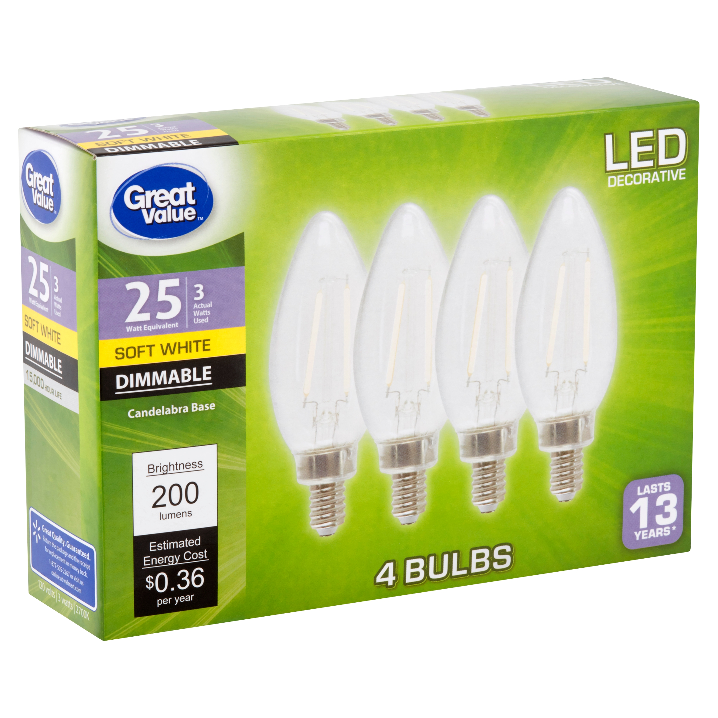 Great Value LED 3 Watts Decorative Soft White Candelabra Base Bulbs, 4 count