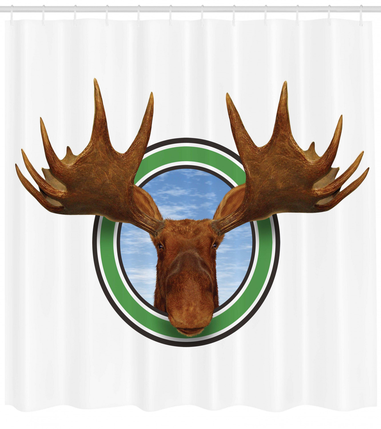 Moose Decor Shower Curtain Symbolic Northern Fauna Icon With Deer Head Humor Natural Preservation Image Fabric Bathroom Set Hooks 69w X 75l
