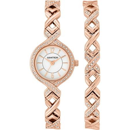 Armitron Women's Dress Round Watch Set, Rose Gold Bracelet