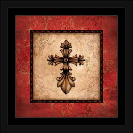 Religious Scroll (Traditional Ornate Cross Scroll Border Distressed Religious Painting Red & Tan, Framed Canvas Art by Pied Piper Creative )