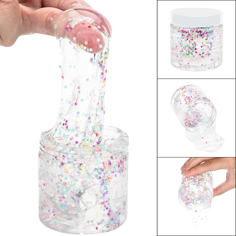 Iuhan 170ml Colourful Pentagram Clear Slime Putty Scented Stress Kid Clay Toy