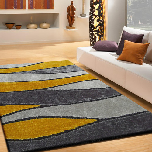 Rug Factory Plus Living Shag Yellow Gray Rug Walmart Com