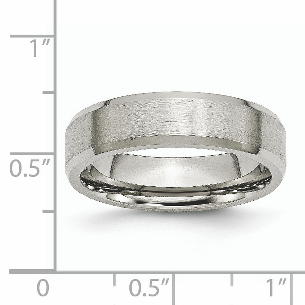 Titanium Beveled Edge 6mm Brushed Wedding Ring Band Size 13.50 Classic Flat W/edge Fashion Jewelry Gifts For Women For Her - image 3 of 7