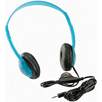 Califone 3060AVBL Multimedia Stereo Headphones, Blueberry; Fully adjustable, lightweight headband fits all students; Recessed wiring resists prying fingers for classroom safety