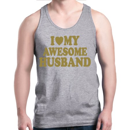Shop4Ever Men's I Love My Awesome Husband Gold Couples Graphic Tank Top