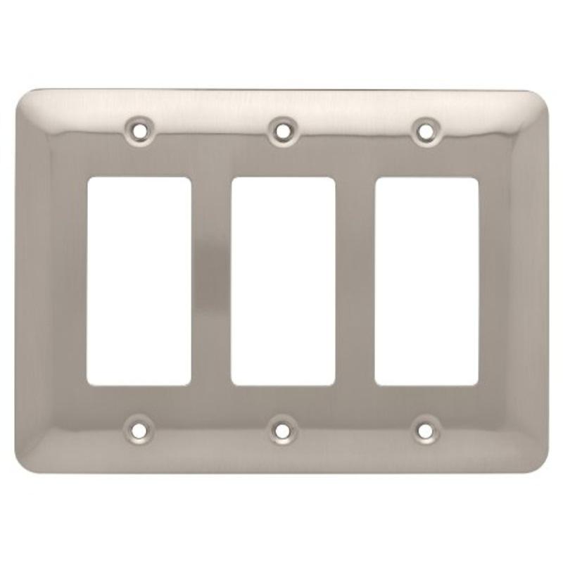 Brainerd Rounded Corner Triple Decorator Wall Plate, Satin Nickel