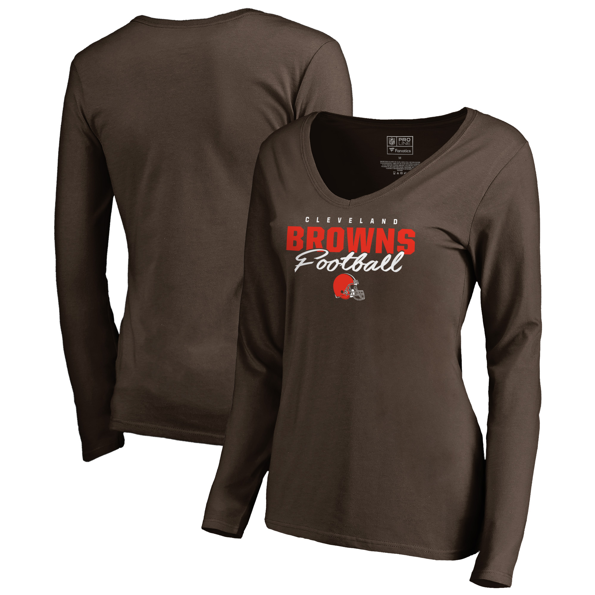 Cleveland Browns NFL Pro Line by Fanatics Branded Women's Iconic Collection Script Assist Long Sleeve V-Neck T-Shirt - Brown