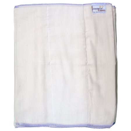 "Dandelion Diapers 100% Organic Cotton Prefold Diapers - Set of 3 Prefolds - Size 5 - 15.5 x 18"""