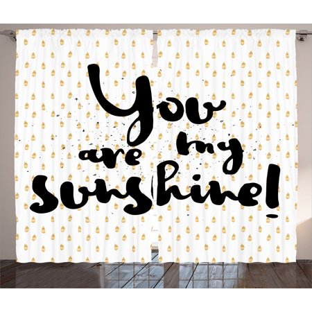 Quotes Decor Curtains 2 Panels Set, Sunshine Inscription over Big Retro  Dotted Background Wisdom Message Print, Window Drapes for Living Room  Bedroom,