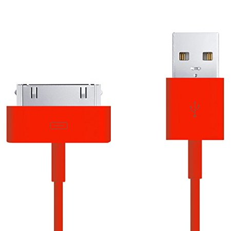2 Pack   30 Pin To Usb Sync Cable For Apple Iphone 4S 4 3Gs  Ipod Touch 2Nd 3Rd 4Th Gen  Classic 80Gb 120Gb 160Gb  Ipod Nano 1St 2Nd 3Rd 4Th 5Th 6Th Gen  Ipad 1St 2Nd Gen  Red