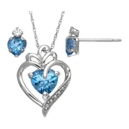 """0.92 Carat T.G.W. Blue Topaz Sterling Silver Pendant, 18"""", with 0.63 Carat T.G.W. Blue Topaz and CZ Sterling Silver Stud Earrings"""