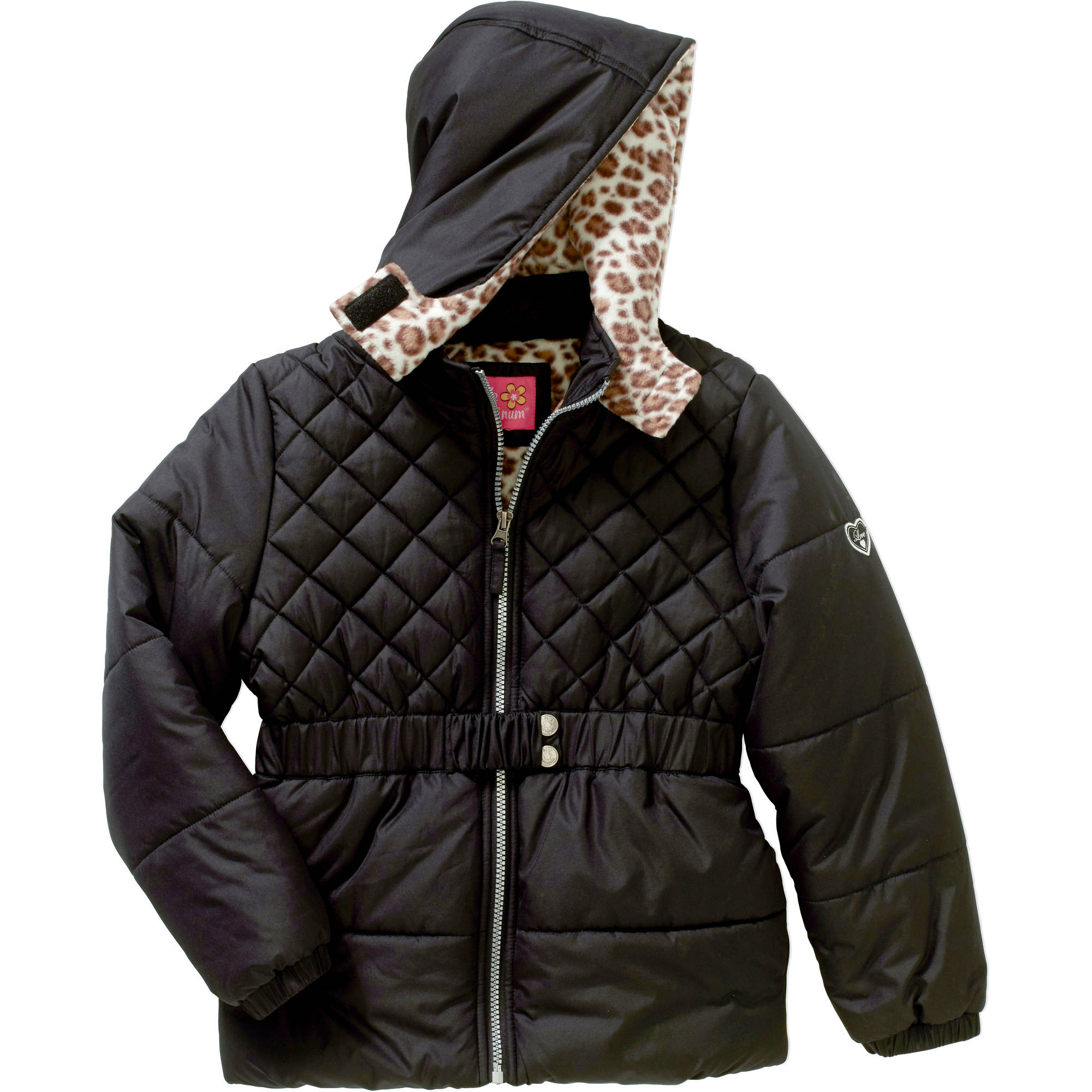 Girls' Belted Quilted Puffer Jacket with Cheetah Print Lining and Hood
