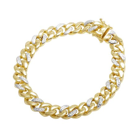10K Yellow Gold Hollow Diamond Cut Miami Cuban Bracelet 9MM 8-9 Inches-9 in. Diamond Cut Stampato Bracelet