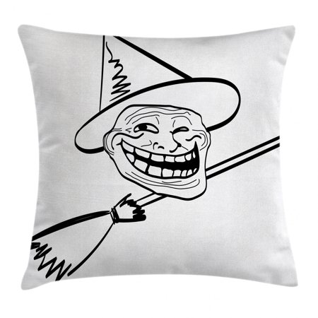 Halloween Witch Memes (Humor Decor Throw Pillow Cushion Cover, Halloween Spirit Themed Witch Guy Meme Lol Joy Spooky Avatar Artful Image, Decorative Square Accent Pillow Case, 16 X 16 Inches, Black White, by)