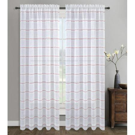 Urbanest Chamon Striped Sheer Rod Pocket Curtain Panels (Set of 2)