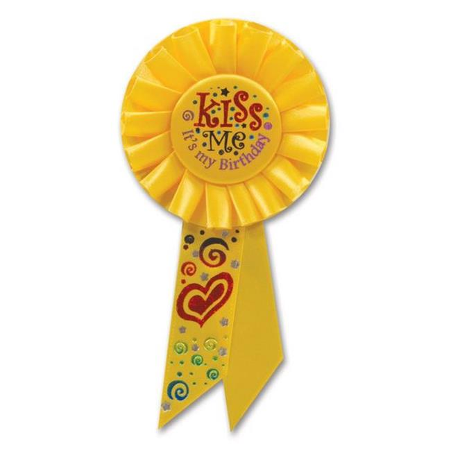 Beistle RS058 Kiss Me, It is My Birthday Rosette - Pack of 6