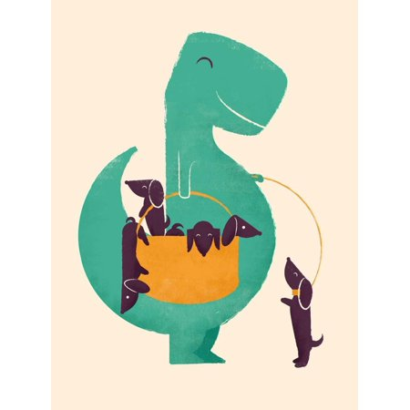 TRex and the Basketful of Wiener Dogs Whimsical Animal Dinosaur Childrens Room Print Wall Art By Jay Fleck