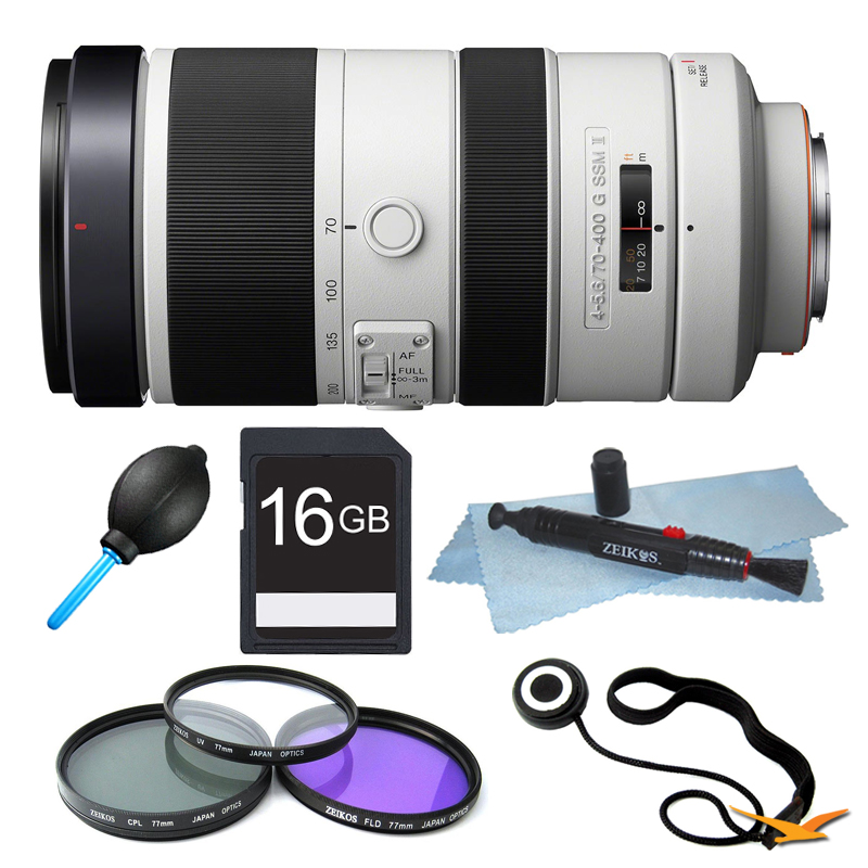 Sony SAL70400G2 G Series 70-400mm f/4-5.6 Super Telephoto Lens Filter Bundle - Includes lens, 77mm UV, Polarizer & FLD Deluxe Filter kit, 16GB SD Memory Card, Lens Cap Keeper, LCD/Lens Cleaning Pen A