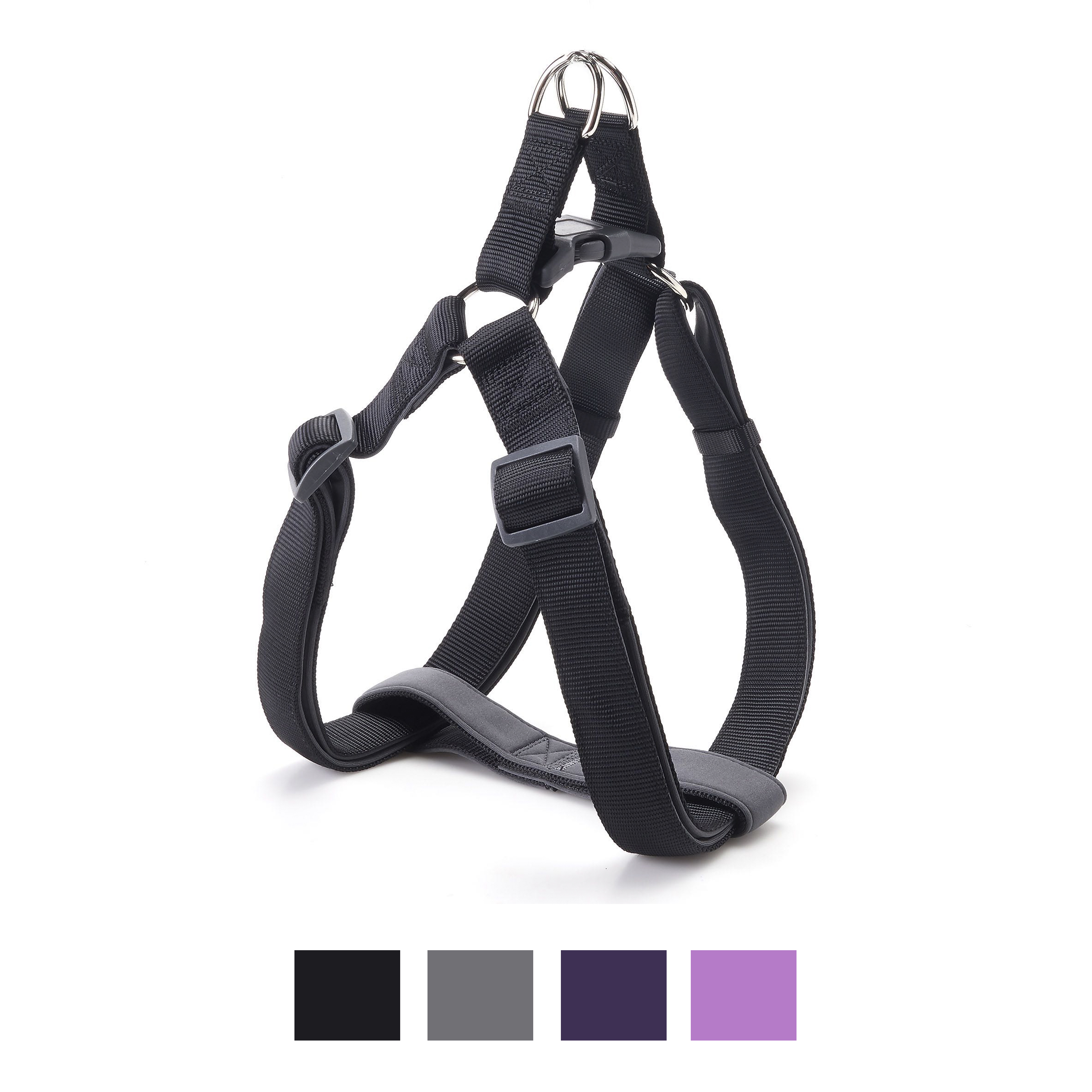 Eco Friendly Bamboo /'Dual Clip Step-In Dog Harness Midnight Black