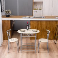 3 Piece Dining Set Round Kitchen Table, Home Kitchen Furniture Table and 2 Chairs, Durable Metal Frame and Wood Tabletop Dining Table Set for 2, Breakfast Set with Wine Bottle Rack, Natural, Q5502