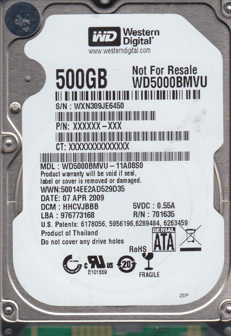 WD5000BMVU-11A08S0, DCM HHCVJBBB, Western Digital 500GB USB 2.5 Hard Drive by Western Digital