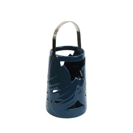 SageBrook Home Ceramic Palm Leaf Lantern - Blue Lantern Ring For Sale