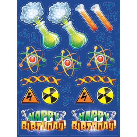 Mad Scientist Stickers, 4pk - Mad Scientist Halloween Party Invitations