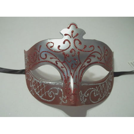 Red Crimson Silver Scroll Venetian Mask Masquerade Costume Prom Dance Men
