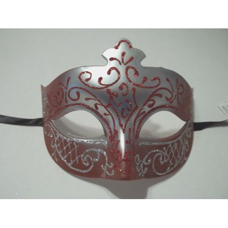 Halloween Prom (Red Crimson Silver Scroll Venetian Mask Masquerade Costume Prom Dance Men)