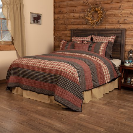 Burgundy Red Rustic & Lodge Bedding Bannack Cotton Pre-Washed Striped King -