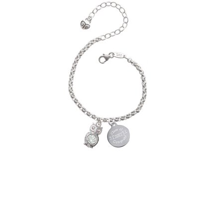 Silvertone 3-D Clear AB Crystal Owl Class Of 2017 Congrats Engraved Bracelet