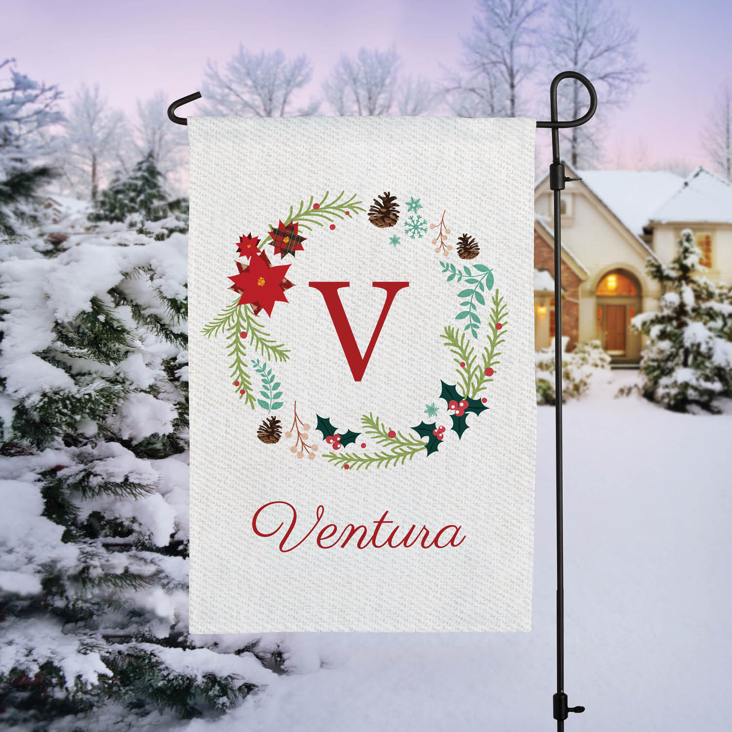 Holiday Wreath Personalized Garden Flag