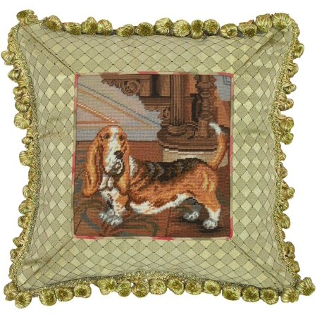 Throw Pillow Basset Hound Dog 14x14 Wool Yarns Polyrayon Insert New Needl JK-354