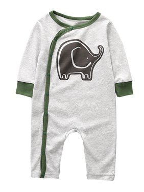 8af8c945b Product Image StylesILove Infant Baby Boy Elephant Print Long Sleeve Cotton  Romper Outfit (95/18-