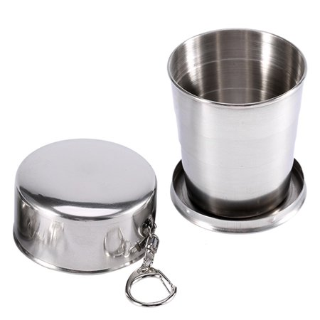 240ml Portable Stainless Steel Collapsible Travel Cup Folding Camping Keychain Cup for Travel Camping Picnic Hiking Backpacking