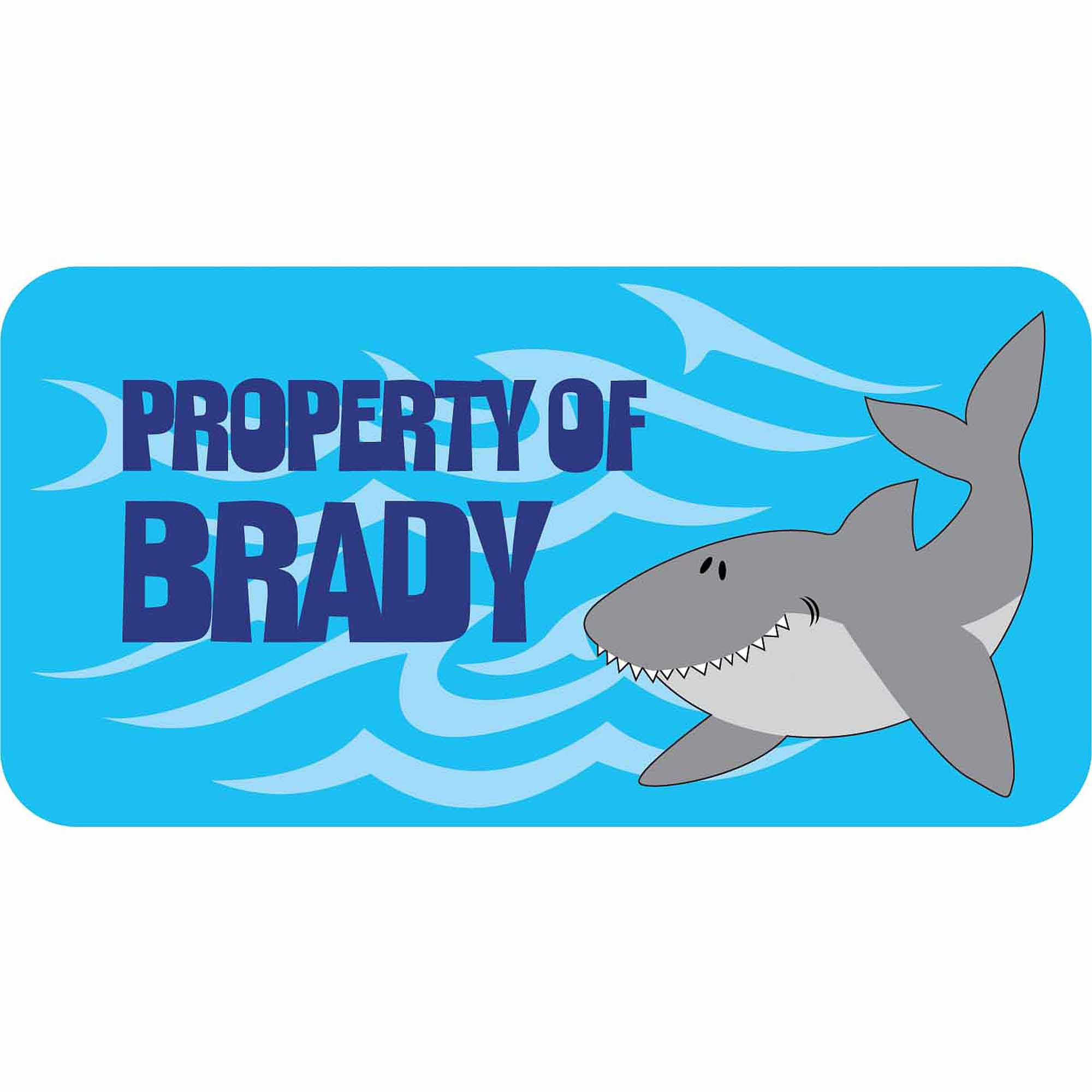 Personalized Kids Property Labels, Shark