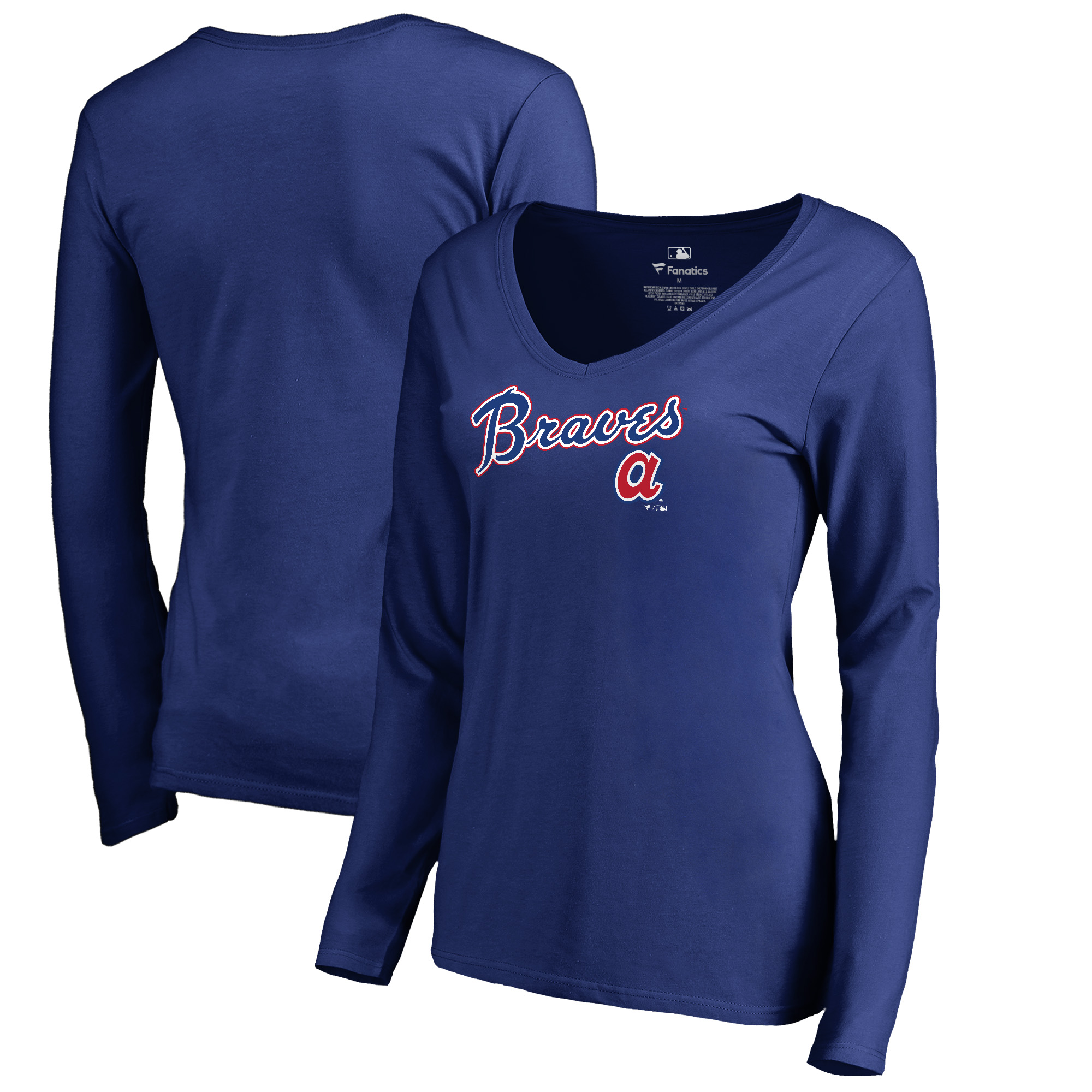 Atlanta Braves Fanatics Branded Women's Cooperstown Collection Wahconah Long Sleeve V-Neck T-Shirt - Royal