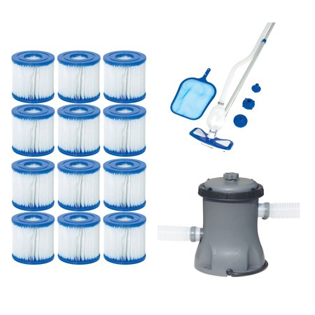 Bestway Type VII/D Filter Cartridges + Pool Cleaning Kit + Pool Filter (The Best Way To Clean Glass)