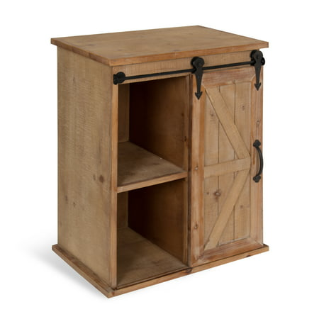 Peachy Kate And Laurel Cates Wooden Freestanding Storage Cabinet Side Accent Table With Sliding Barn Door Rustic Brown Finish Home Interior And Landscaping Oversignezvosmurscom