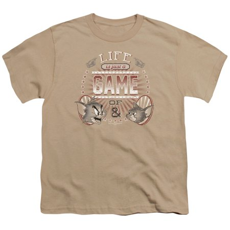Trevco TOM AND JERRY LIFE IS A GAME Sand Child Unisex T-Shirt - Halloween Tom And Jerry Games