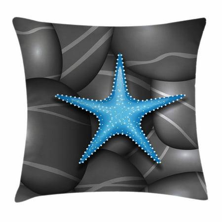 Starfish Decor Throw Pillow Cushion Cover Blue Among Sea Pebble Stones Ocean Underwater Wildlife