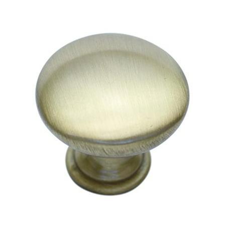 "Hamilton Bowes Satin Brass Cabinet Hardware 1-1/4"" Round Mushroom Modern Basic Knob - 1.25"" Diameter – 1-3/32"" Tall Modern Gold Vibrant Amber"